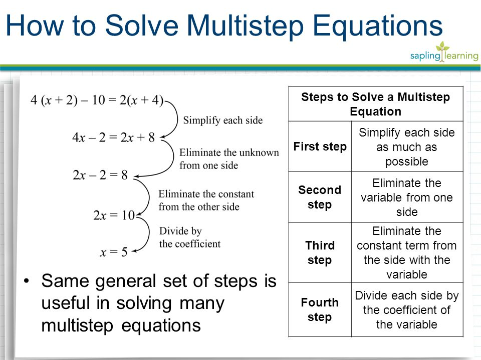 Same general set of steps is useful in solving many multistep equations How to Solve Multistep Equations Steps to Solve a Multistep Equation First step Simplify each side as much as possible Second step Eliminate the variable from one side Third step Eliminate the constant term from the side with the variable Fourth step Divide each side by the coefficient of the variable