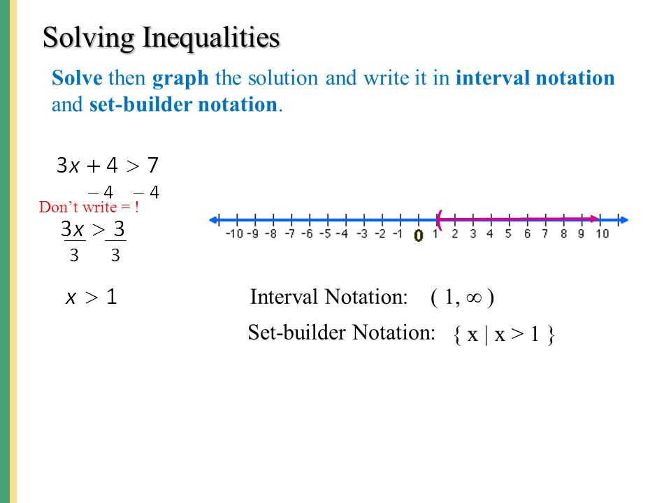 Solving Inequalities Solve then graph the solution and write it in interval notation and set-builder notation. ( Interval Notation: Set-builder Notati
