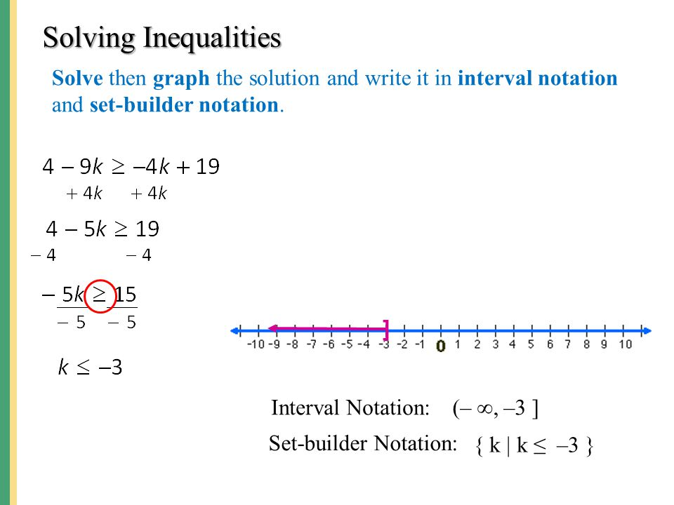 Solving Inequalities Solve then graph the solution and write it in interval notation and set-builder notation. ] Interval Notation: Set-builder Notati