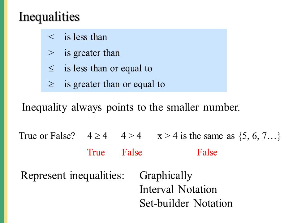 <is less than >is greater than  is less than or equal to  is greater than or equal to Inequalities Inequality always points to the smaller number. R