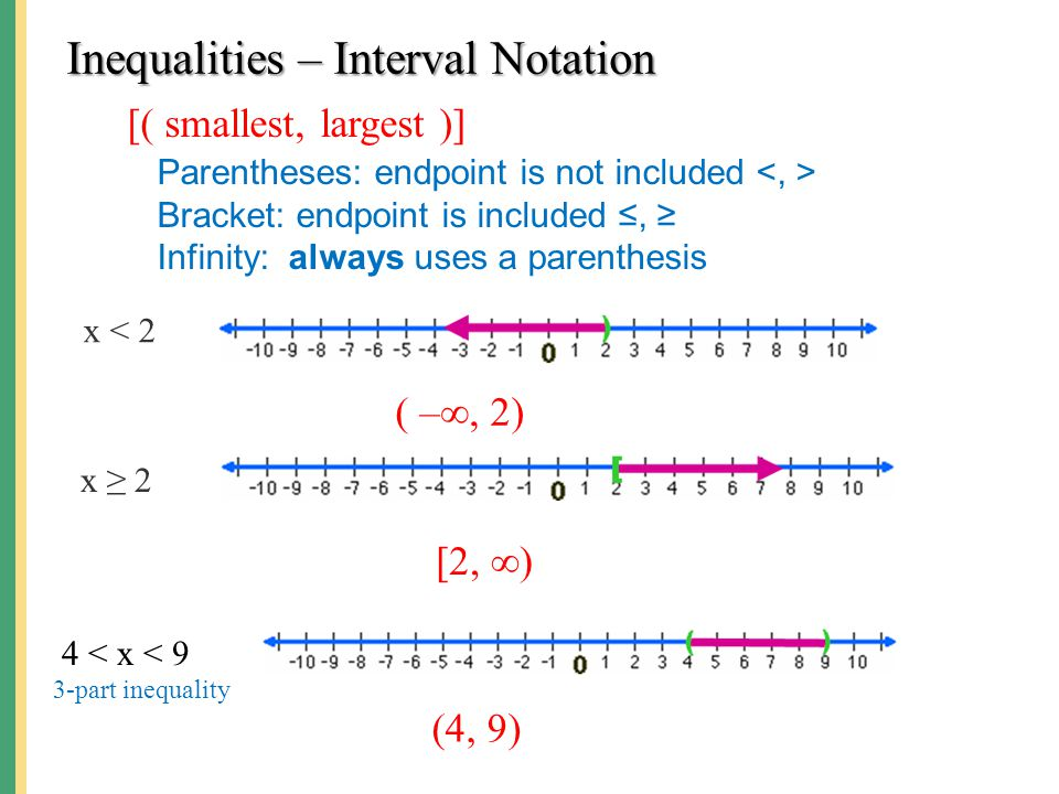 Inequalities – Interval Notation [( smallest, largest )] Parentheses: endpoint is not included Bracket: endpoint is included ≤, ≥ Infinity: always use