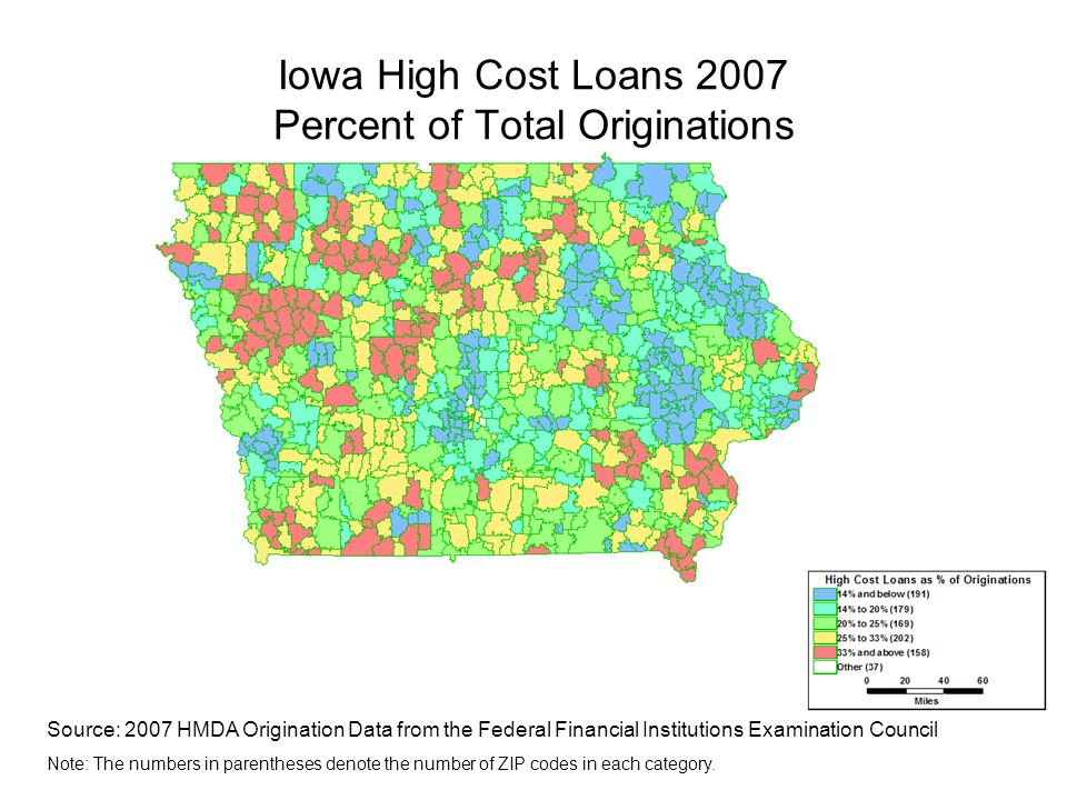 Iowa High Cost Loans 2007 Percent of Total Originations Source: 2007 HMDA Origination Data from the Federal Financial Institutions Examination Council Note: The numbers in parentheses denote the number of ZIP codes in each category.