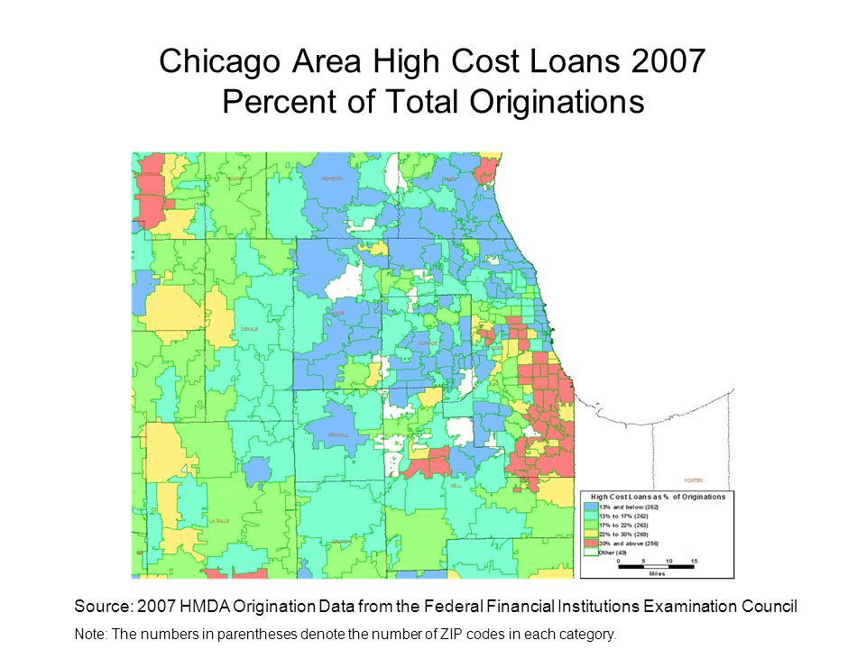 Chicago Area High Cost Loans 2007 Percent of Total Originations Source: 2007 HMDA Origination Data from the Federal Financial Institutions Examination Council Note: The numbers in parentheses denote the number of ZIP codes in each category.