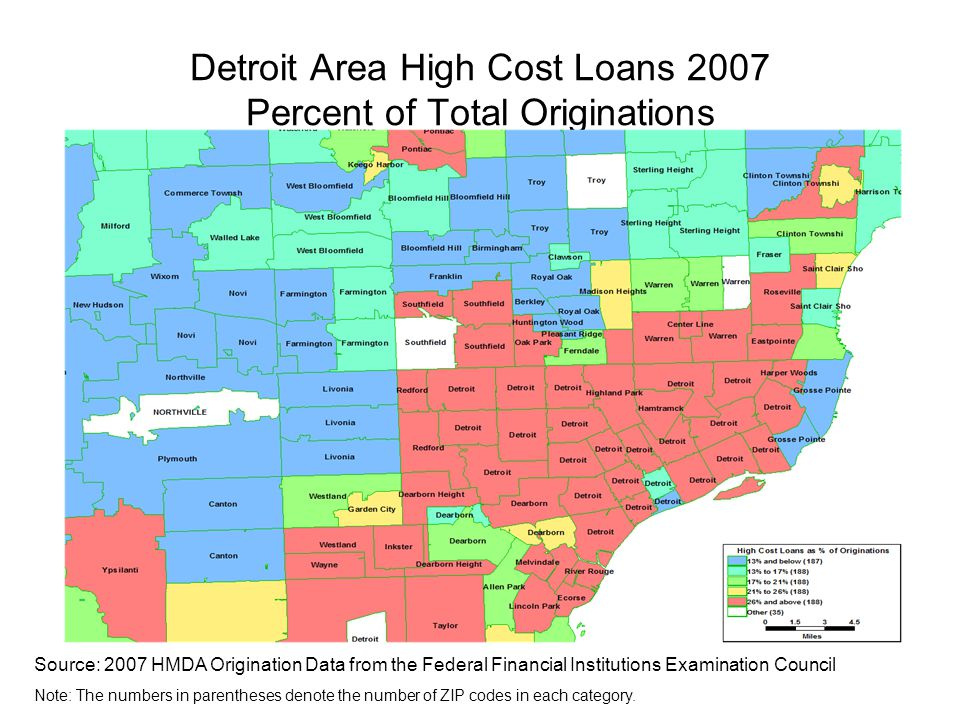 Detroit Area High Cost Loans 2007 Percent of Total Originations Source: 2007 HMDA Origination Data from the Federal Financial Institutions Examination Council Note: The numbers in parentheses denote the number of ZIP codes in each category.
