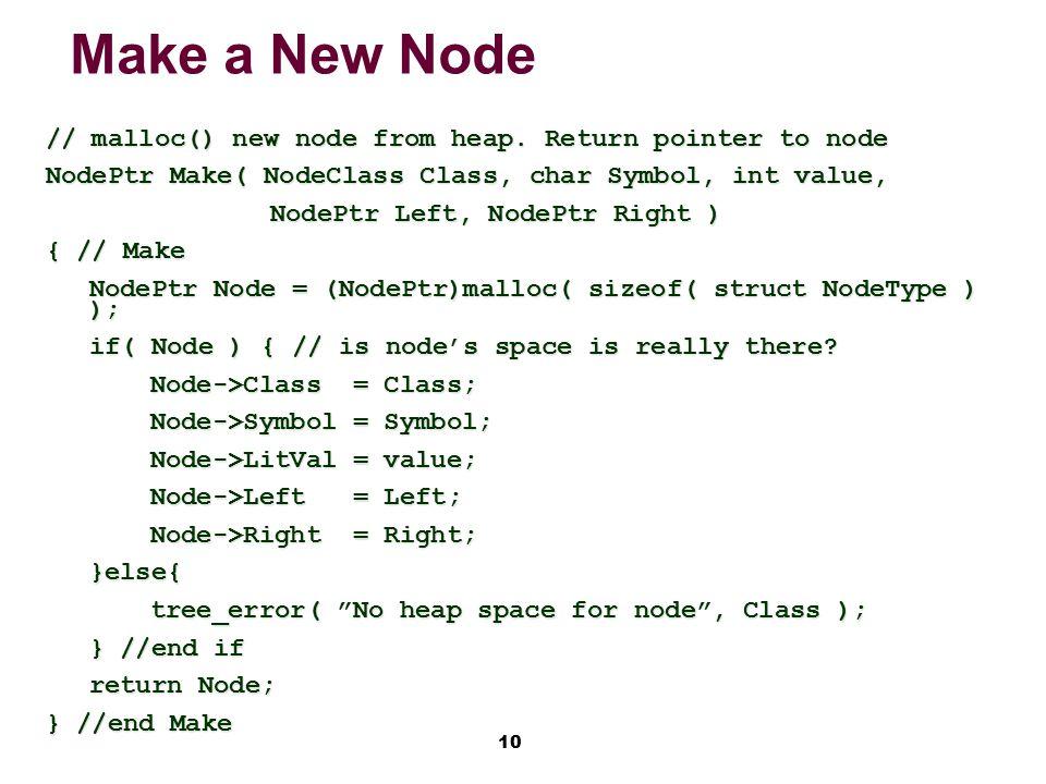10 Make a New Node // malloc() new node from heap.