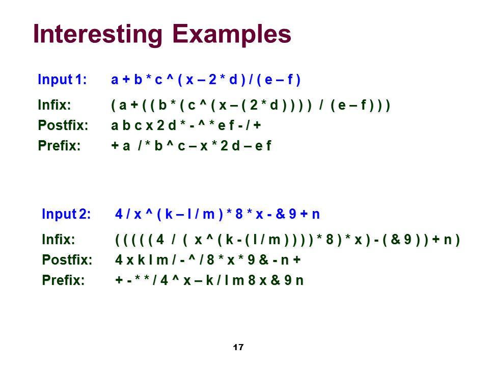 17 Interesting Examples Input 1:a + b * c ^ ( x – 2 * d ) / ( e – f ) Infix:( a + ( ( b * ( c ^ ( x – ( 2 * d ) ) ) ) / ( e – f ) ) ) Postfix:a b c x 2 d * - ^ * e f - / + Prefix:+ a / * b ^ c – x * 2 d – e f Input 2:4 / x ^ ( k – l / m ) * 8 * x - & 9 + n Infix:( ( ( ( ( 4 / ( x ^ ( k - ( l / m ) ) ) ) * 8 ) * x ) - ( & 9 ) ) + n ) Postfix:4 x k l m / - ^ / 8 * x * 9 & - n + Prefix:+ - * * / 4 ^ x – k / l m 8 x & 9 n