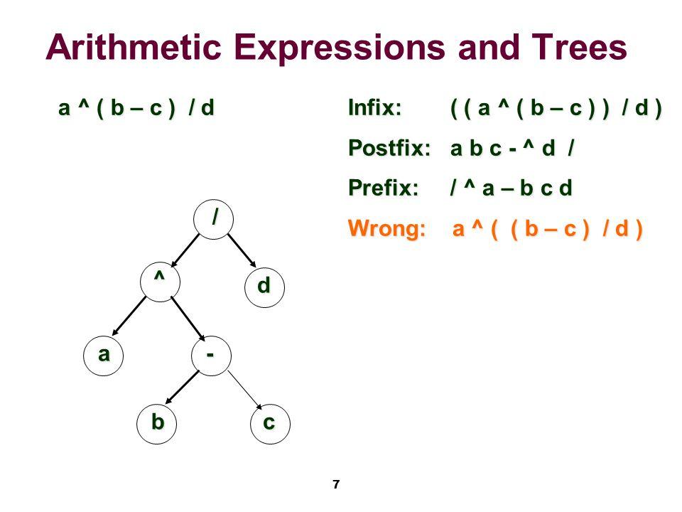 7 Arithmetic Expressions and Trees a ^ ( b – c ) / d / ^ d -a Infix:( ( a ^ ( b – c ) ) / d ) Postfix:a b c - ^ d / Prefix:/ ^ a – b c d Wrong: a ^ ( ( b – c ) / d ) bc