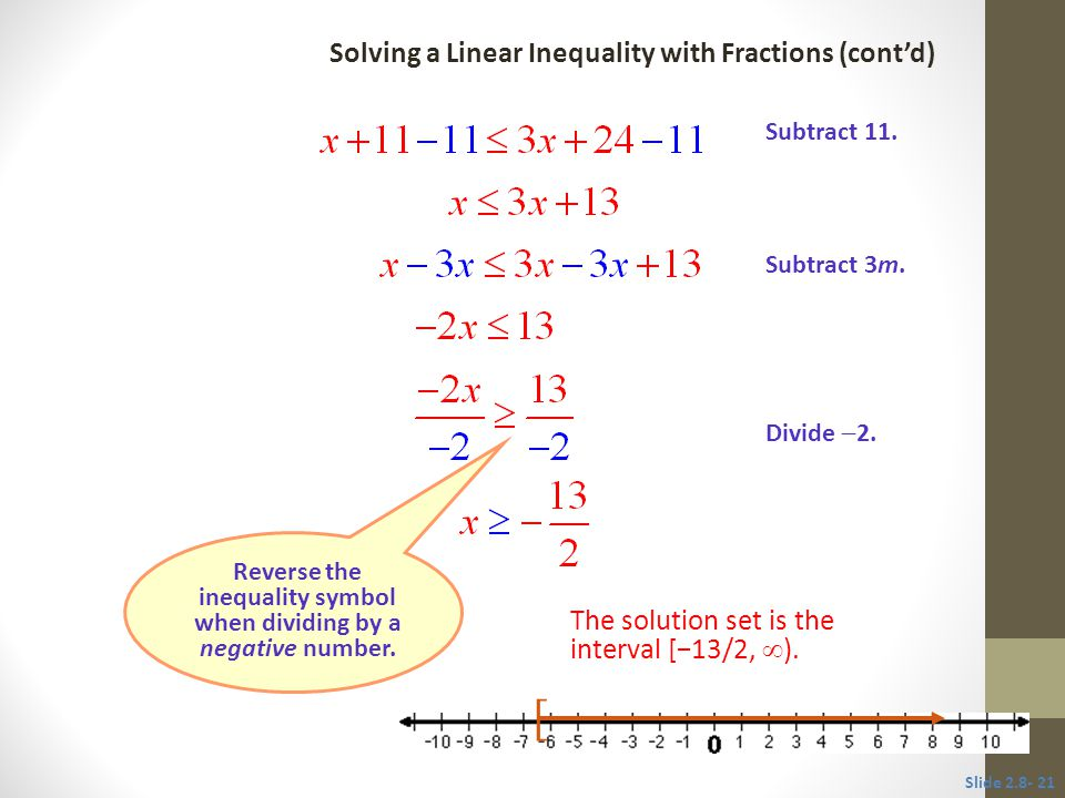 Reverse the inequality symbol when dividing by a negative number. [ Subtract 11. Subtract 3m. Divide  2. Slide 2.8- 21 Solving a Linear Inequality wi