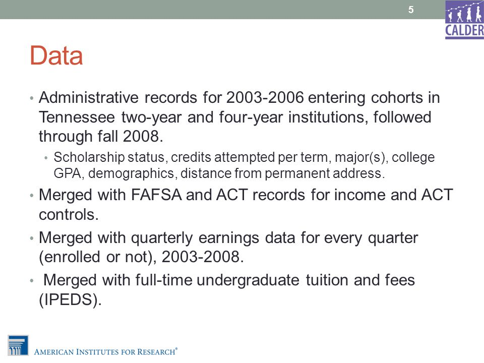 Data Administrative records for 2003-2006 entering cohorts in Tennessee two-year and four-year institutions, followed through fall 2008.