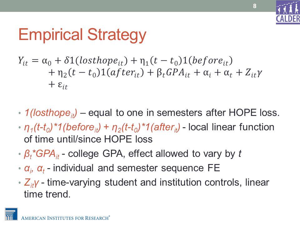 Empirical Strategy 8