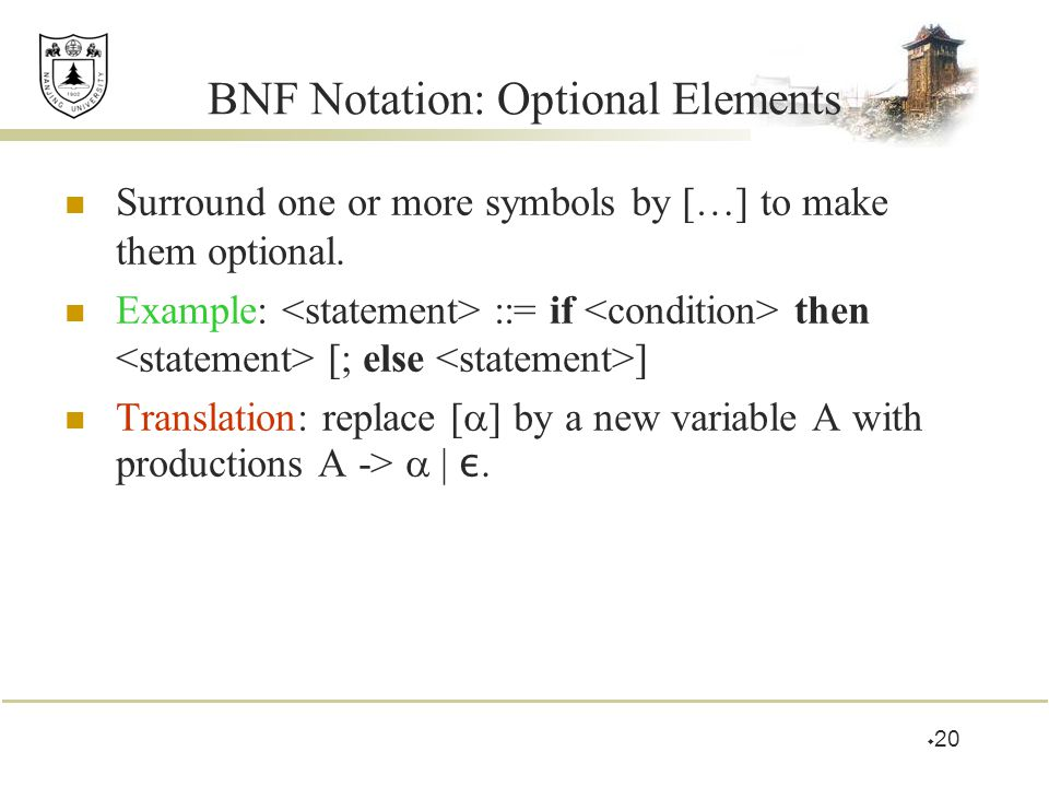 BNF Notation: Optional Elements Surround one or more symbols by […] to make them optional. Example: ::= if then [; else ] Translation: replace [  ] b