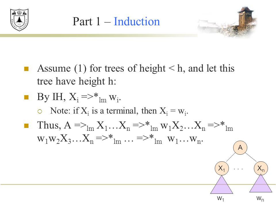 Part 1 – Induction Assume (1) for trees of height < h, and let this tree have height h: By IH, X i =>* lm w i.  Note: if X i is a terminal, then X i