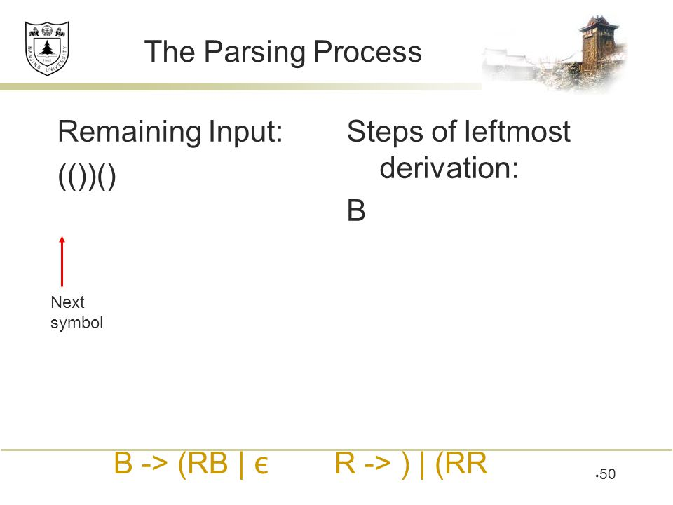  50 The Parsing Process Remaining Input: (())() Steps of leftmost derivation: B Next symbol B -> (RB | ε R -> ) | (RR