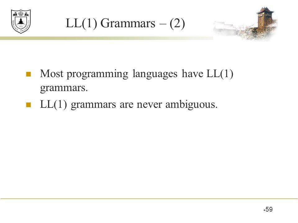  59 LL(1) Grammars – (2) Most programming languages have LL(1) grammars. LL(1) grammars are never ambiguous.