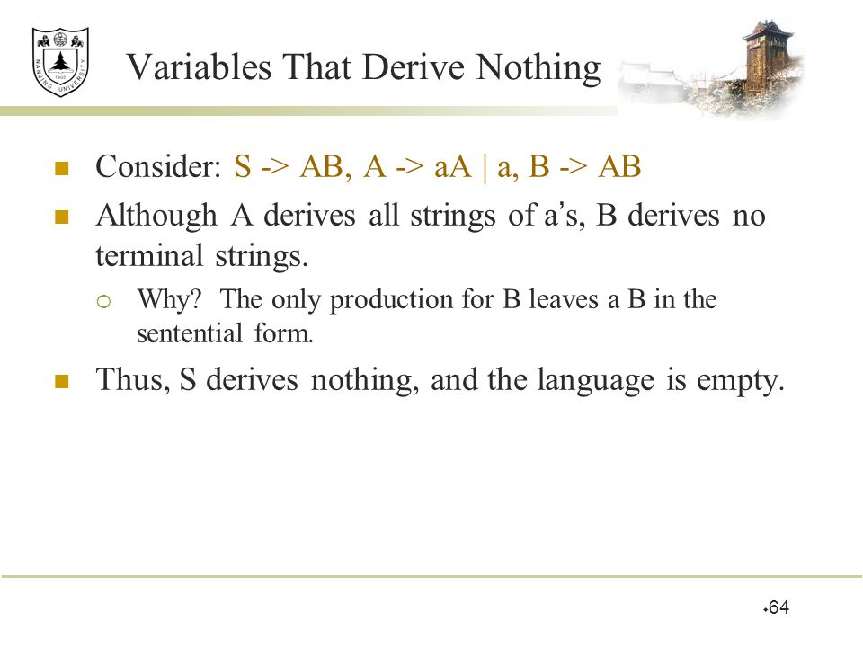  64 Variables That Derive Nothing Consider: S -> AB, A -> aA | a, B -> AB Although A derives all strings of a ' s, B derives no terminal strings.  W