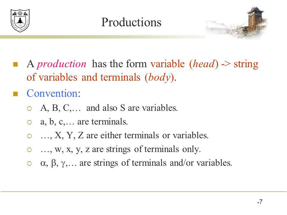 Example: Formal CFG Here is a formal CFG for { 0 n 1 n | n > 1}.