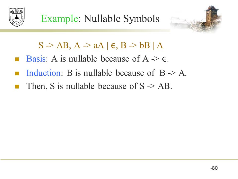  80 Example: Nullable Symbols S -> AB, A -> aA | ε, B -> bB | A Basis: A is nullable because of A -> ε. Induction: B is nullable because of B -> A. T