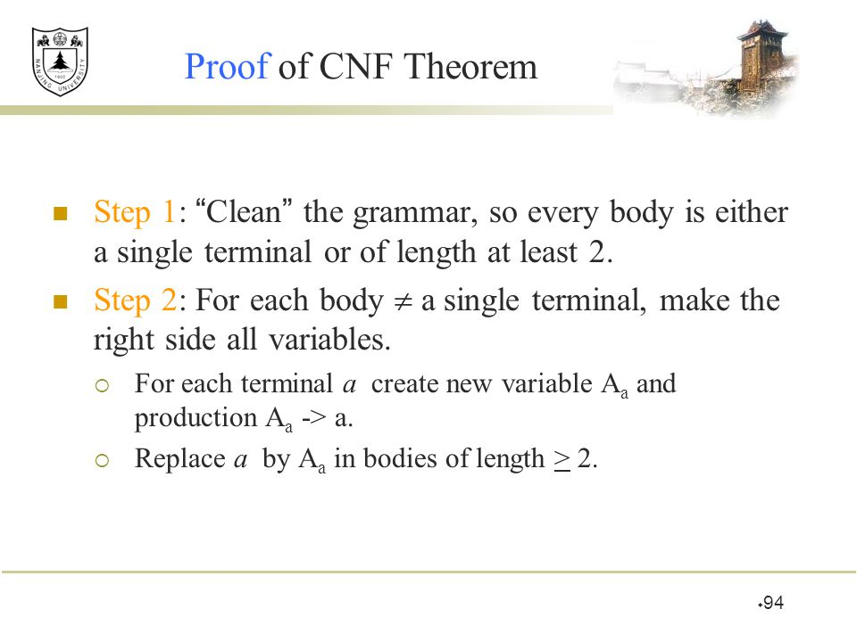 """ 94 Proof of CNF Theorem Step 1: """" Clean """" the grammar, so every body is either a single terminal or of length at least 2. Step 2: For each body  a"""