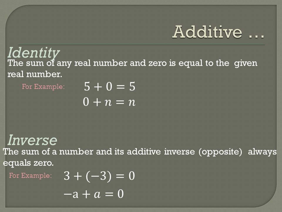 Identity Inverse The sum of any real number and zero is equal to the given real number. The sum of a number and its additive inverse (opposite) always