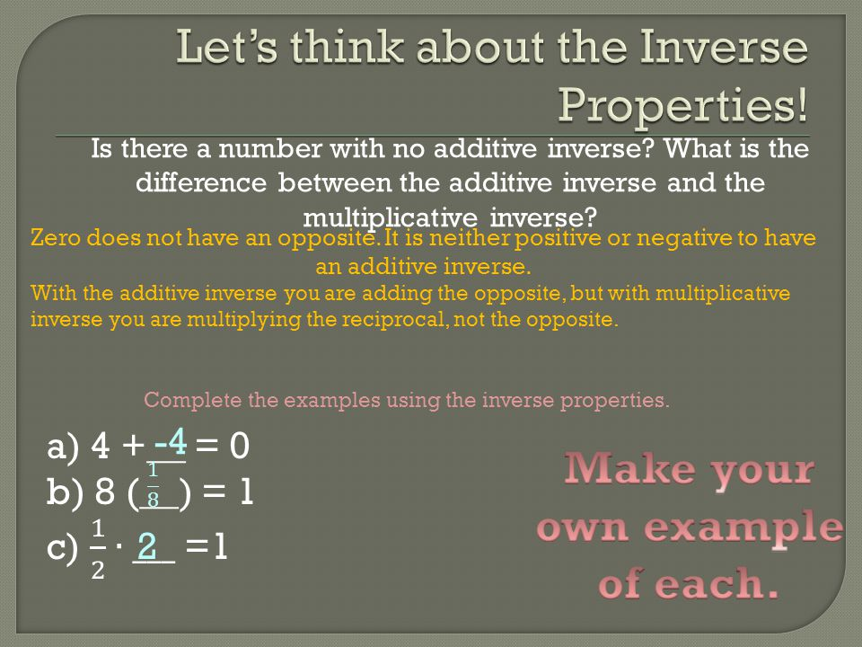 Is there a number with no additive inverse? What is the difference between the additive inverse and the multiplicative inverse? Zero does not have an