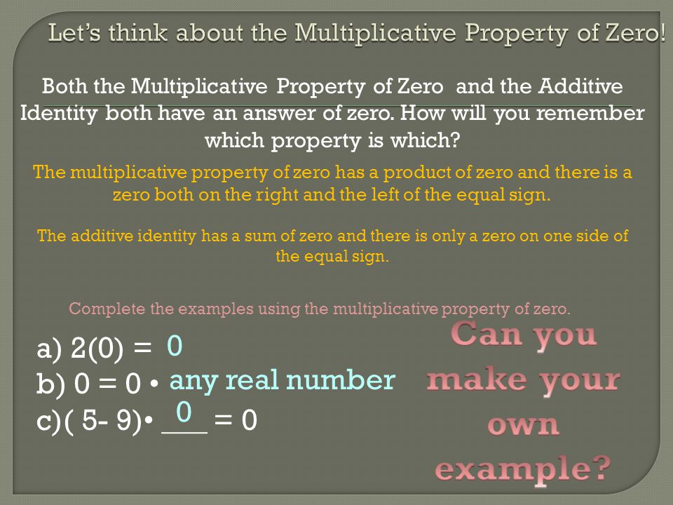 Both the Multiplicative Property of Zero and the Additive Identity both have an answer of zero. How will you remember which property is which? The mul