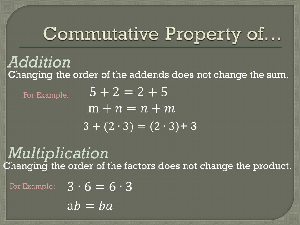 Addition Multiplication Changing the order of the addends does not change the sum. Changing the order of the factors does not change the product. For
