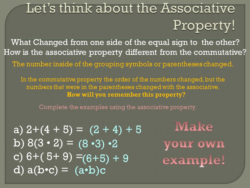 What Changed from one side of the equal sign to the other? How is the associative property different from the commutative? The number inside of the gr