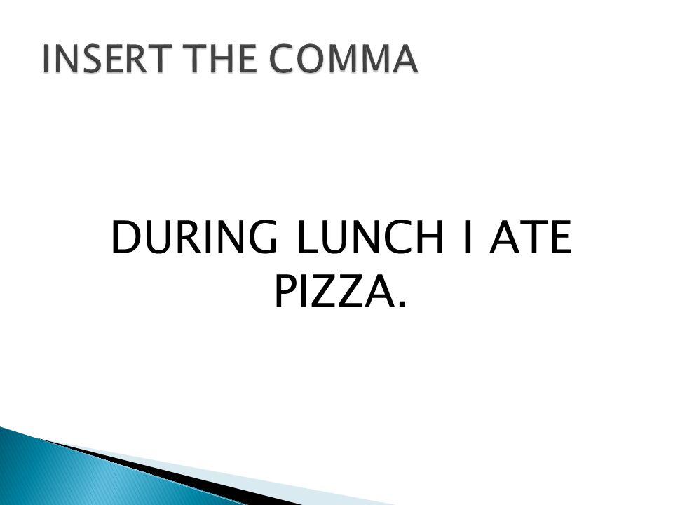 DURING LUNCH I ATE PIZZA.
