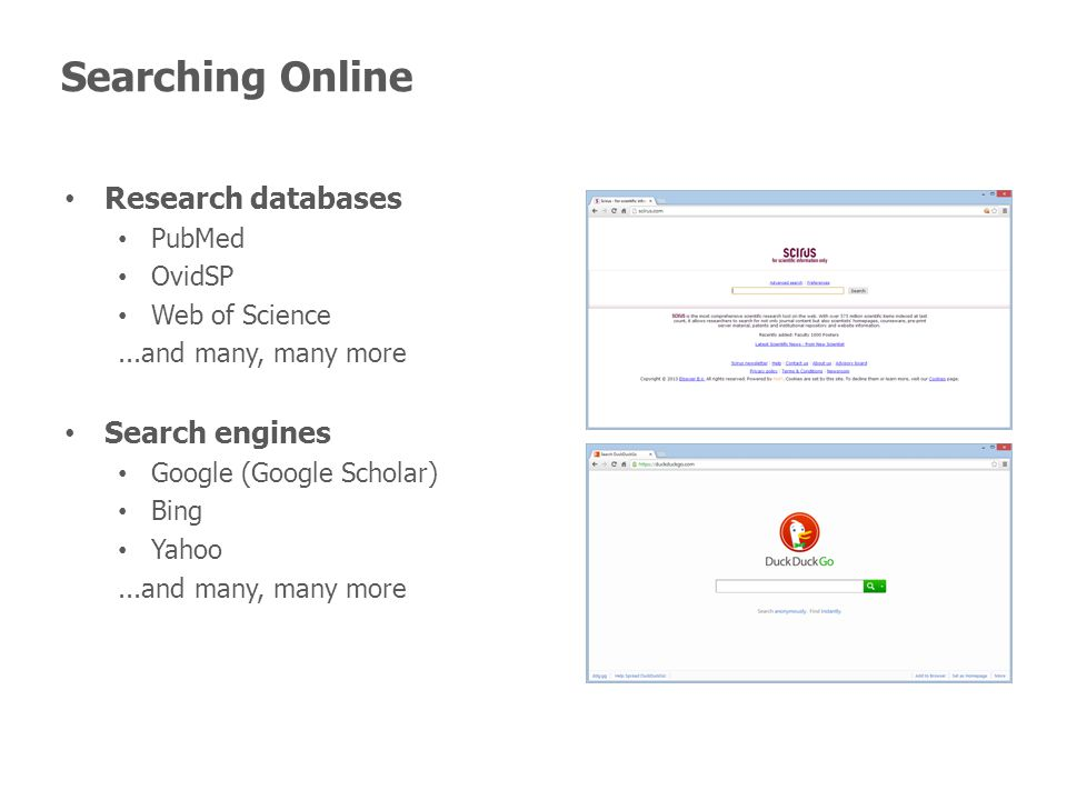 Searching Online Research databases PubMed OvidSP Web of Science...and many, many more Search engines Google (Google Scholar) Bing Yahoo...and many, many more