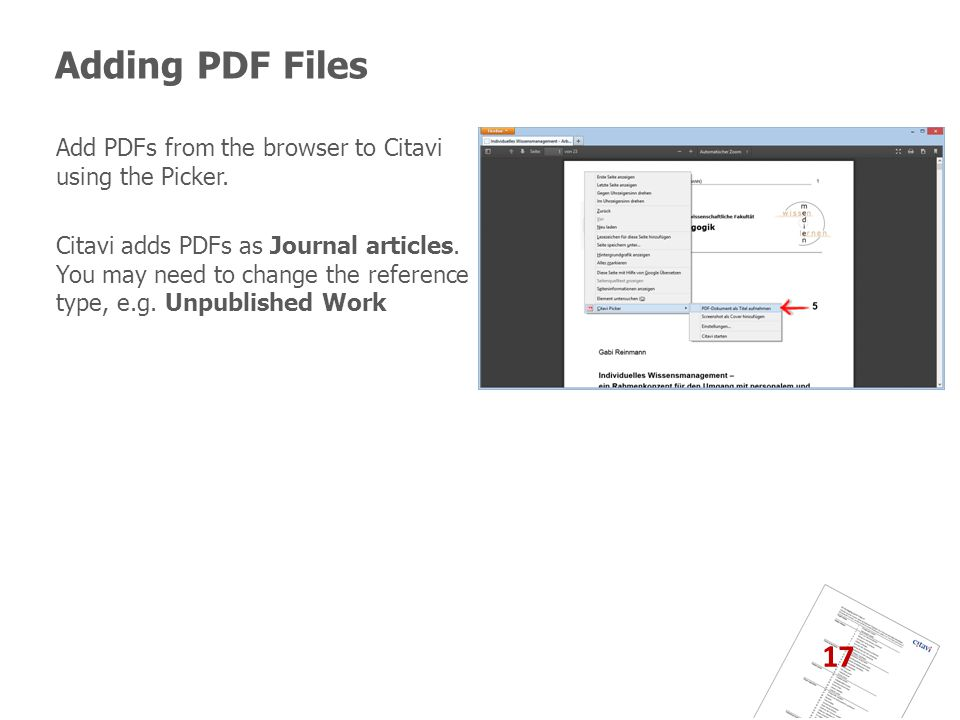 Adding PDF Files 17 Add PDFs from the browser to Citavi using the Picker.
