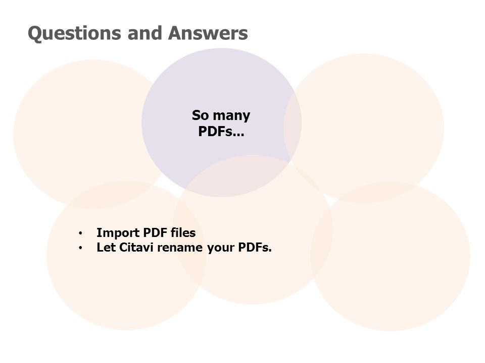 Questions and Answers So many PDFs... Import PDF files Let Citavi rename your PDFs.