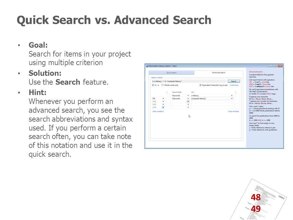 Quick Search vs.