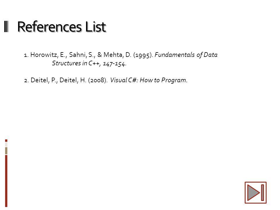 References List 1. Horowitz, E., Sahni, S., & Mehta, D.