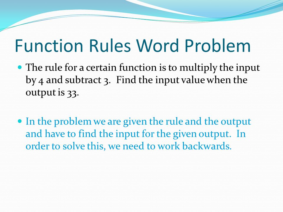 Working Backwards with Function Rules 4.
