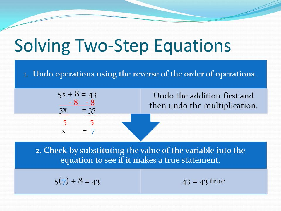 Solving Two-Step Equations Example x / 9 - 4 = 10 + 4 + 4undo subtraction first by adding x / 9 = 14 9 · x / 9 = 14 · 9undo the division by multiplying x = 126check: 126 / 9 - 4 = 10 14 - 4 = 10 10 = 10