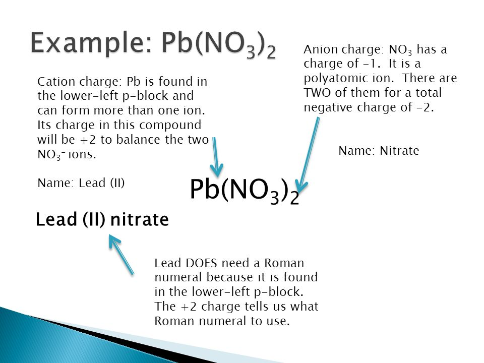 Pb(NO 3 ) 2 Lead (II) nitrate Anion charge: NO 3 has a charge of -1. It is a polyatomic ion. There are TWO of them for a total negative charge of -2.