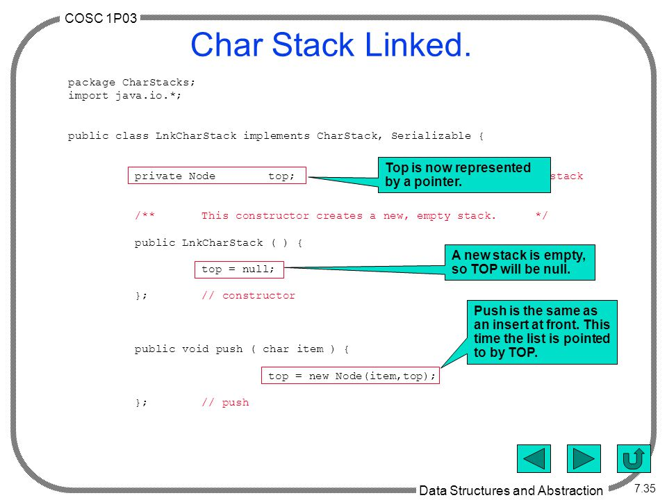 COSC 1P03 Data Structures and Abstraction 7.35 Char Stack Linked.