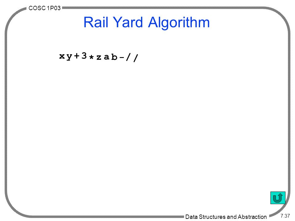 COSC 1P03 Data Structures and Abstraction 7.37 Rail Yard Algorithm ((x+y)*3)/(z/(a-b)) ( ( x + y+ * 3 * / ( z / ( a - b - / /