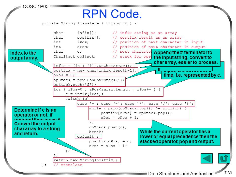 COSC 1P03 Data Structures and Abstraction 7.39 RPN Code.