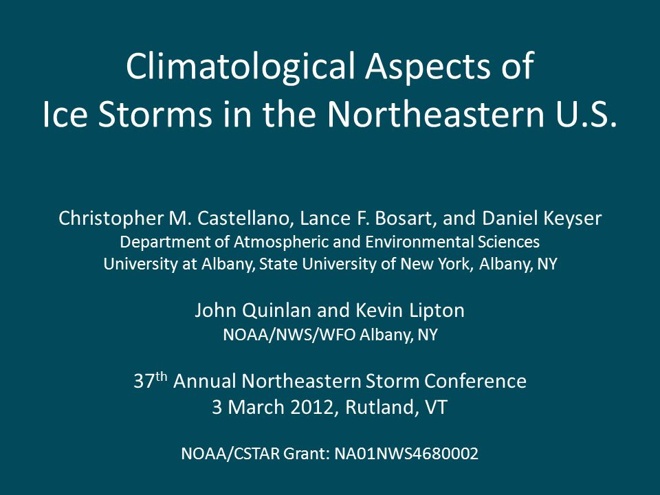 Climatological Aspects of Ice Storms in the Northeastern U.S.