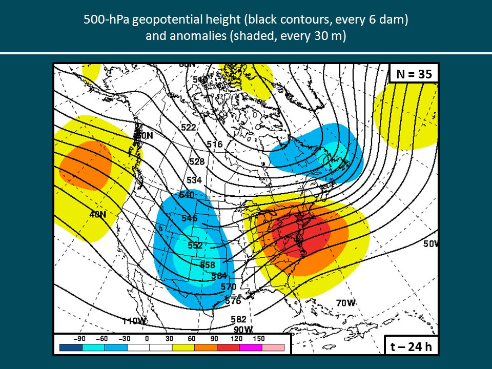 500-hPa geopotential height (black contours, every 6 dam) and anomalies (shaded, every 30 m) t – 24 h N = 35