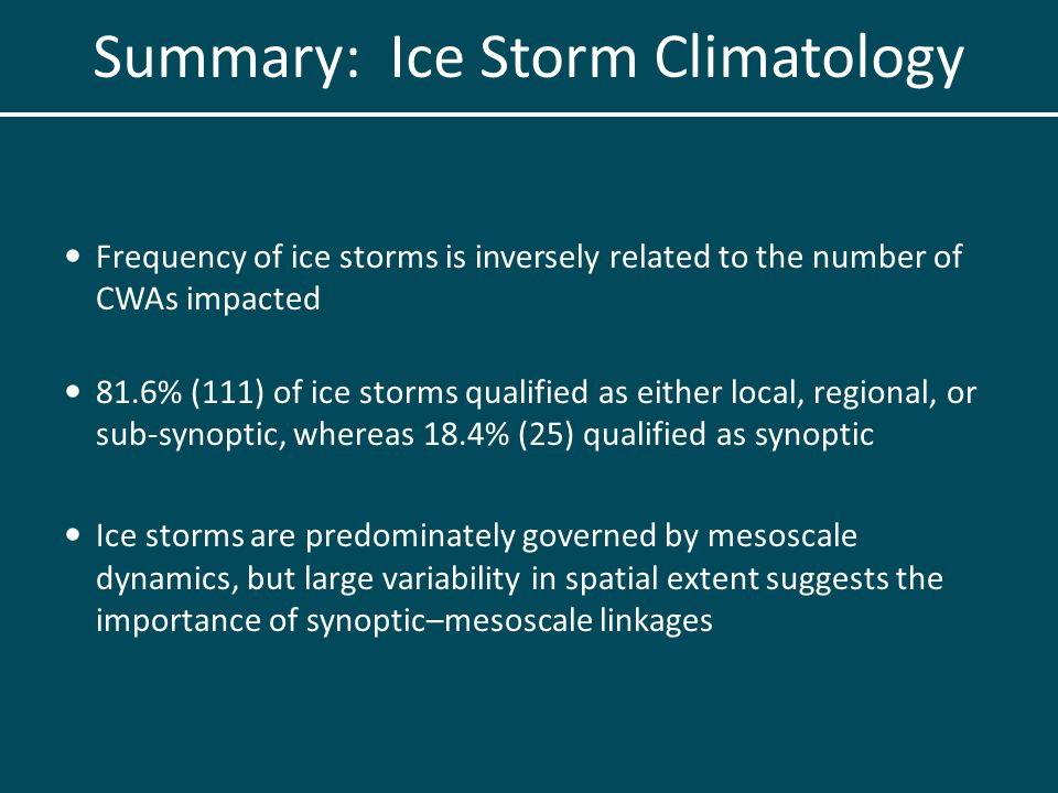 Frequency of ice storms is inversely related to the number of CWAs impacted 81.6% (111) of ice storms qualified as either local, regional, or sub-synoptic, whereas 18.4% (25) qualified as synoptic Ice storms are predominately governed by mesoscale dynamics, but large variability in spatial extent suggests the importance of synoptic–mesoscale linkages Summary: Ice Storm Climatology