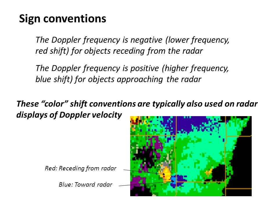 Sign conventions The Doppler frequency is negative (lower frequency, red shift) for objects receding from the radar The Doppler frequency is positive (higher frequency, blue shift) for objects approaching the radar These color shift conventions are typically also used on radar displays of Doppler velocity Blue: Toward radar Red: Receding from radar