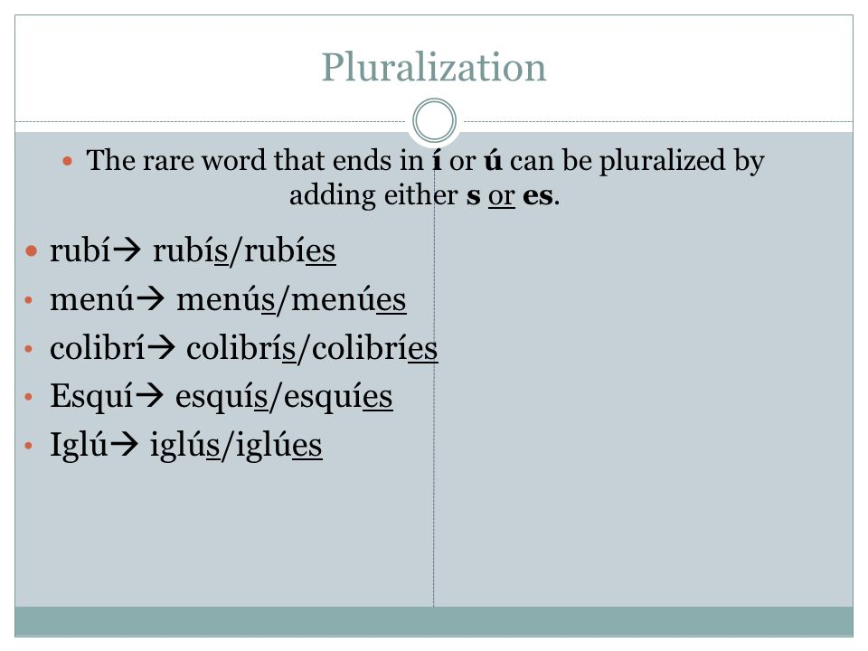 Pluralization The rare word that ends in í or ú can be pluralized by adding either s or es.