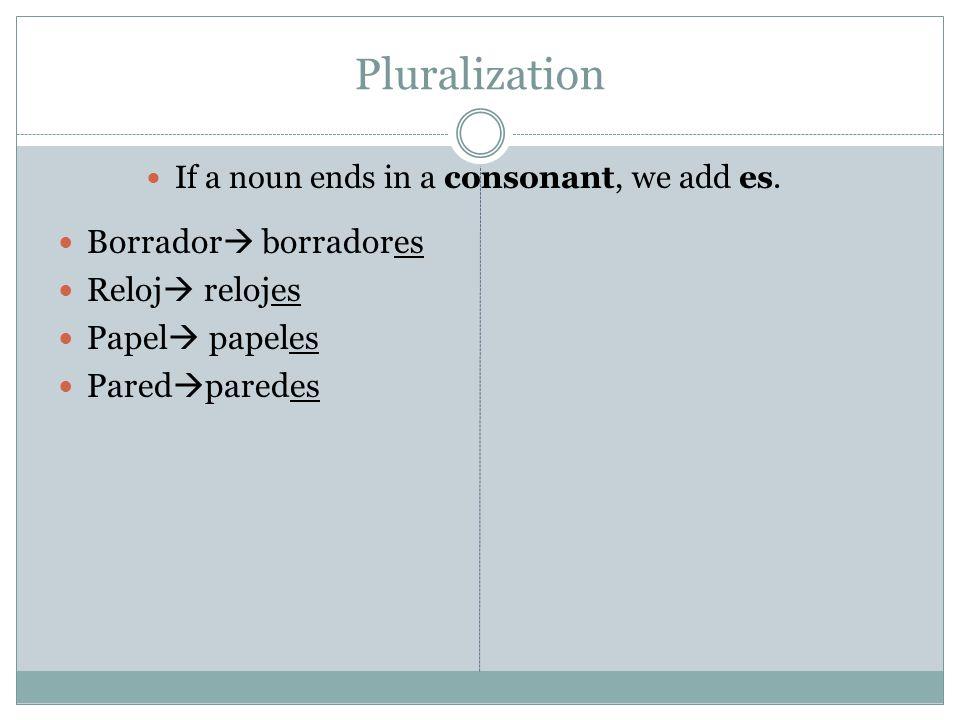 Pluralization If a noun ends in a consonant, we add es.