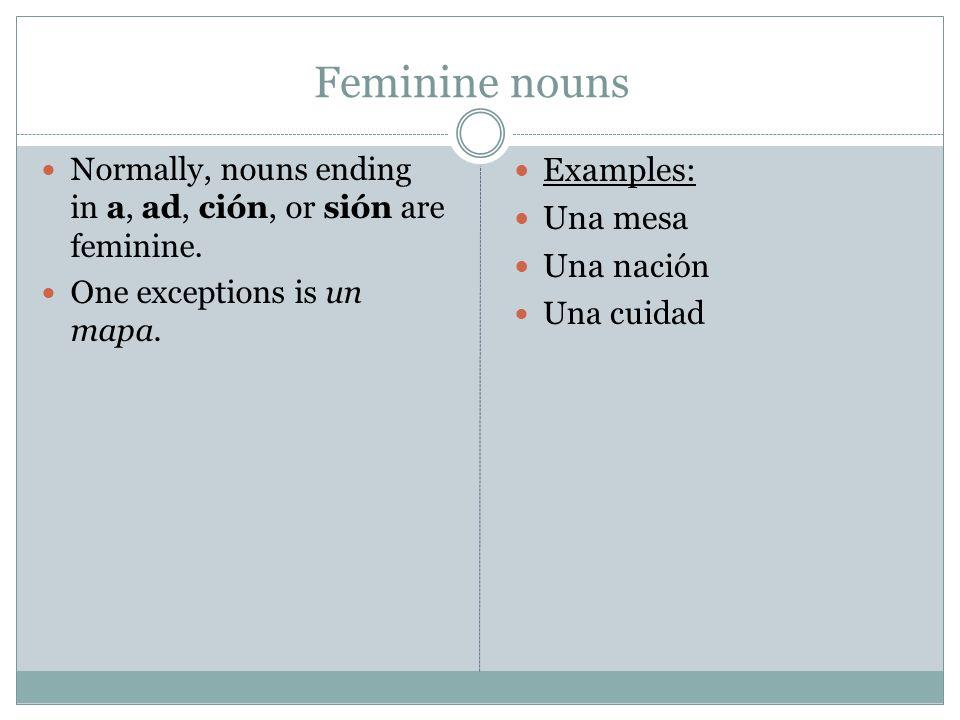 Feminine nouns Normally, nouns ending in a, ad, ción, or sión are feminine.