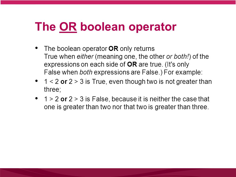 The NOT boolean operator The boolean operator NOT returns True for false statements and False for true statements.