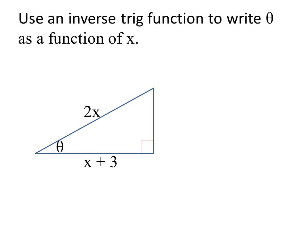 Use an inverse trig function to write θ as a function of x. θ 2x x + 3