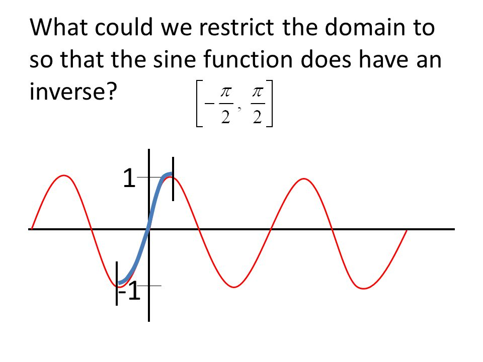What could we restrict the domain to so that the sine function does have an inverse 1