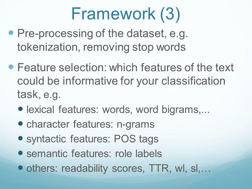 Framework (3) Pre-processing of the dataset, e.g.